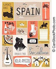 utazás, spanyolország, fogalom
