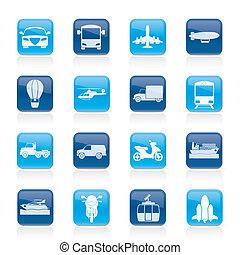 utazás, szállítás, ikonok