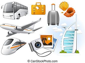 utazás, szállít, ikonok