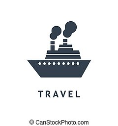 utazás, vektor, fekete, csónakázik, digitális
