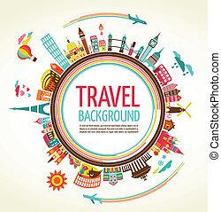 utazás, vektor, idegenforgalom, háttér