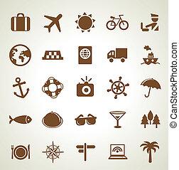 utazás, vektor, ikonok