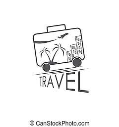 utazás, vektor, tervezés, sablon