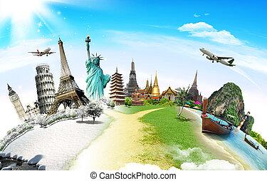 utazás, világ, emlékmű, fogalom