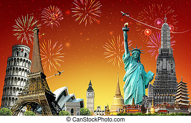 utazás, világ, fesztivál, fogalom