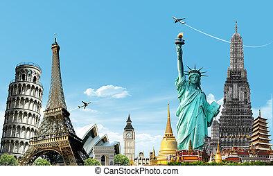 utazás, világ, fogalom