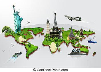 utazás, világ, nyelvemlékek, fogalom
