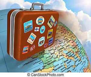 utazás, világszerte, fogalom