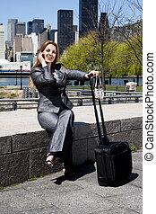 utazó, ügy woman telefon