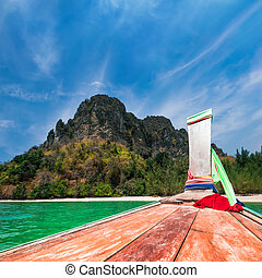 utazó, -ban, thai ember, hagyományos, boat., thaiföld, tropical tengerpart, táj