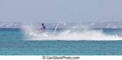 utazó, képben látható, a, karib-tenger, képben látható, egy, jet síléc