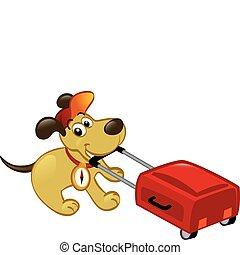 utazó, kutya, vontatás, egy, poggyász