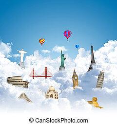 utazó, világ, álmodik, határkő, fogalom