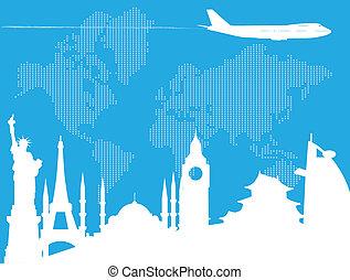 utazó, világ, mindenfelé