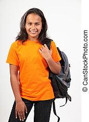 utbilda flicka, stående, med, packa tillbaka