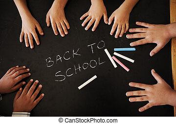 utbildning, aktiviteter, in, klassrum, hos, skola, lycklig, barn, inlärning