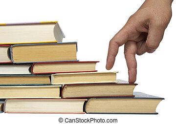 utbildning, böcker, stack