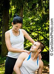 utbildning, efter, sport, massera