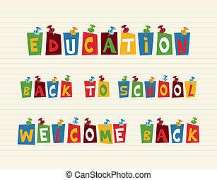 utbildning, färgrik, pushpin, post, noteringen, composition.