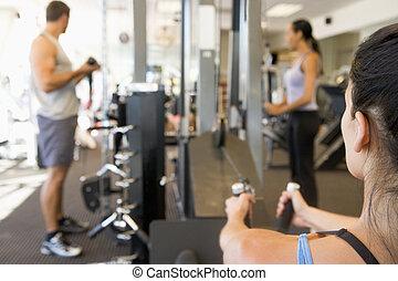 utbildning, grupp, gymnastiksal, vikt, folk