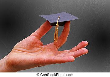 utbildning, in, hand