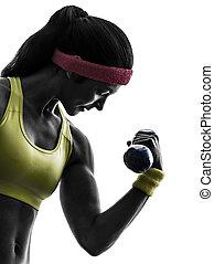 utbildning, kvinna, silhuett, vikt, genomkörare, exercerande,  fitness