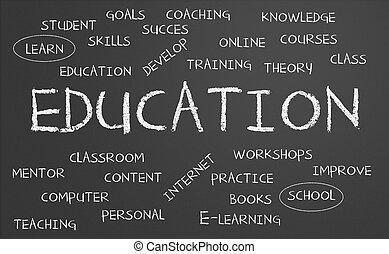 utbildning, ord, moln