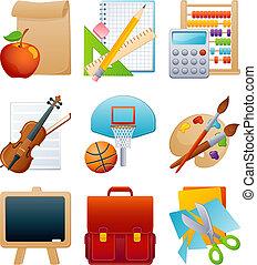 utbildning, sätta, ikon
