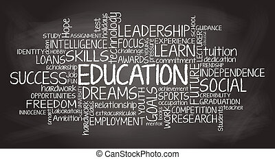 utbildning, släkt, etikett, moln, illustration