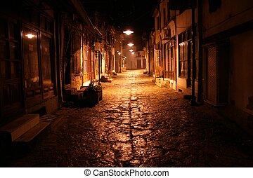 utca, öreg, éjszaka