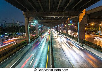 utca, autópálya, éjjel