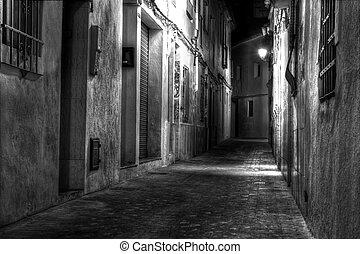 utca, európai, éjszaka