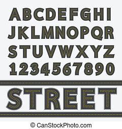 utca, gépel, betűtípus