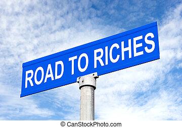 utca, gazdagság, út cégtábla
