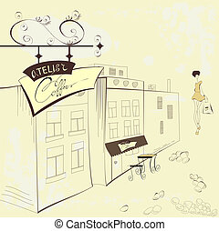 utca, kávéház