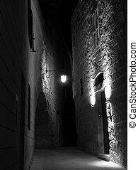 utca, középkori, éjszaka