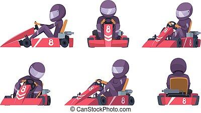 utca, kart, karting, verseny, versenyfutók, vektor, autó., háttér, autó, jár, sport, gyorsaság, karikatúra
