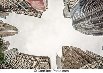 utca, kilátás, közül, manhattan, felhőkarcoló, új york város
