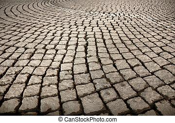 utca, noha, cobblestones