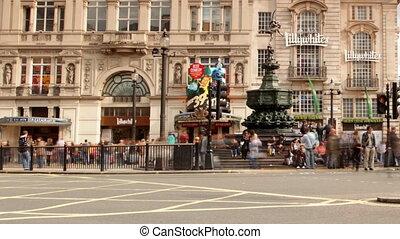 utca táj, közül, piccadilly circus, london, anglia