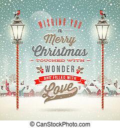 utca, tél, szüret, -, köszönés, ellen, ünnepek, vektor, tervezés, ábra, falu, gépel, karácsony, világító