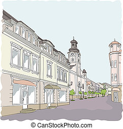utca, vektor, öreg, illustration., town.