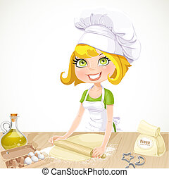 ?ute blond girl baking cookies isolated on white background
