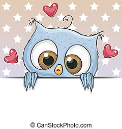 Greeting card cute Cartoon Owl is holding a placard on a stars background