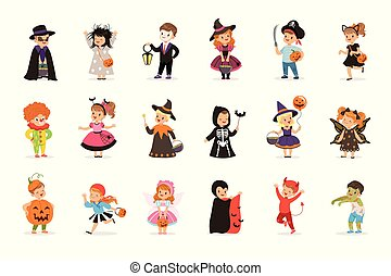 ute little kids in colorful halloween costumes set, ...