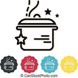 utencil, cocina, -, icono