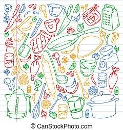 utencils., batería de cocina, class., comida de cocina, ...