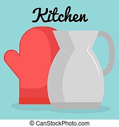 utensílio, ícone, bule, luva, cozinha