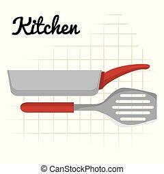 utensílio, ícone, spatule, panela, cozinha
