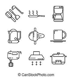 utensílio cozinha, ícone, jogo, 2